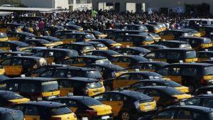 İspanya'da taksiciler greve çıktı