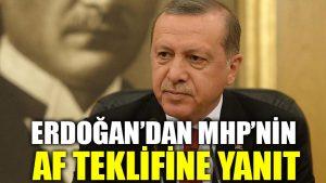 Erdoğan'dan MHP'nin af teklifine yanıt
