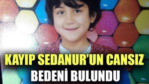 Kayıp Sedanur'un cansız bedeni bulundu