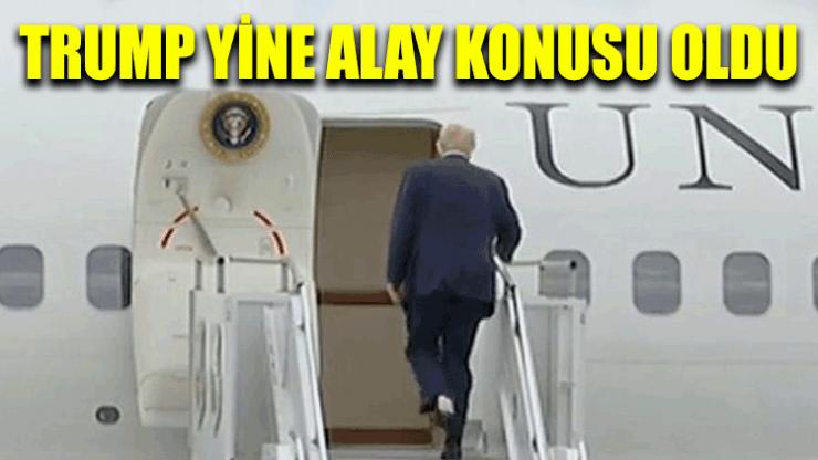 Trump, başkanlık uçağına ayağında tuvalet kağıdıyla bindi