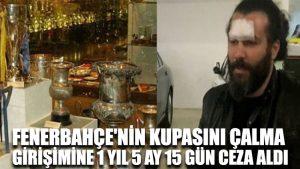 Fenerbahçe'nin kupasını çalma girişimine 1 yıl 5 ay 15 gün ceza aldı