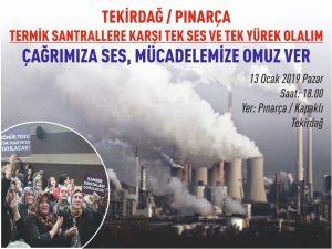 Tekirdağ'da termik santrale karşı direniş toplantısı